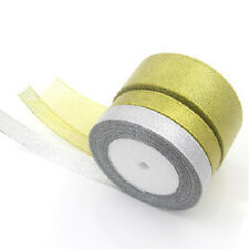 25 Yards Roll Gold/Silver Sheer Organza Ribbon Party Wedding Favor 6-40mm  IO