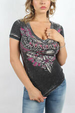Sinful - Womens Allaura V-Neck V-Neck T-Shirt In Black Burnout Wash