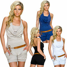 Ladies Halter Neck Neck Overall Jumpsuit Playsuit Belt Waterfall Bandeau 34 36