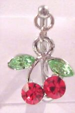 Cherry Crystal Dangle Barbell Bar VCH Jewelry Clit Clitoral Hood Ring 14 gauge
