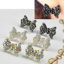 Women Fashion Lovely Cute Rhinestone Crystal Bowknot Bow Tie Earrings