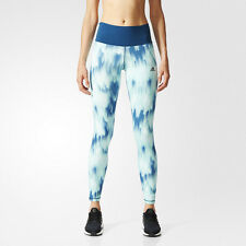Adidas HR Womens Blue Climalite Long Running Gym Tights Bottoms Pants