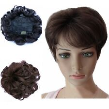 Real Human Hair Womens Lady Black/Brown Curly Wavy Top Piece Toupee Hairpieces