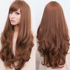 New Women Cosplay Long Style Wavy Curly Synthetic Full Wig With Bangs 3 Colors