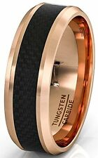 Mens Wedding Band 8mm Rose Gold Tungsten Ring Black Carbon Fiber Surface Beveled