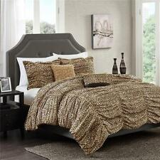 5 PIECE RUCHED RUCHING CHEETAH ANIMAL PRINT Brown Tan Comforter Bedding SET