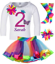 Girls' 2nd Birthday Outfit Butterfly Princess Shirt Rainbow Tutu Add Name
