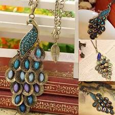 Fashion Bronze Style Peacock Blue&Green Crystal Chain Pendant Necklace  X