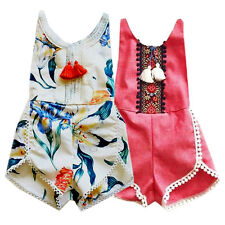 Newborn Baby Bodysuit Girl Kid Romper Floral Tassel Jumpsuit Outfits Clothes New