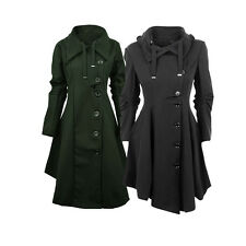 Women's Slim Trench Coat Long Jacket Irregular Overcoat Winter Warm Outerwear
