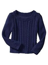 NWT Baby Gap Cable knit boatneck sweater Toddler Girls Blue Navy Pullover sizes