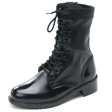 Men's Shoes Lace Up side zipper Combat Boots US5.5 -US11.5 real leather shoes