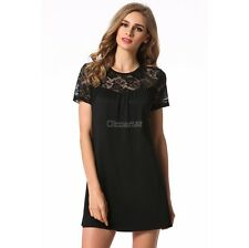 Sexy Short Sleeve Lace Patchwork Backless Club Mini A-line Dress OK