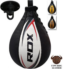 RDX Cow Hide Leather Speed Ball & Swivel Boxing Punch Bag Punching Training MMA