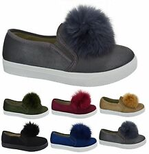 LADIES FLAT WOMENS SUEDE STYLE TRAINER PUMPS FUR POM POM LOAFERS SHOES BOOTS SZ