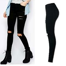 Women Skinny Ripped Pant High Waist Stretch Jeans Slim Pencil Trousers USPS