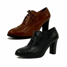 Ladies Round toe lace up block high heel shoe boots