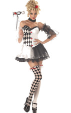 Ladies Le Belle Harlequin Jester Masquerade Halloween Fancy Dress Costume