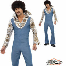 Mens 70s Retro Groovy Dancer Disco Jumpsuit Fancy Dress Costume