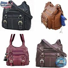 Concealed Carry Purse with Locking CCW Gun Compartment. Genuine Leather Hand Bag