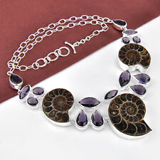 Classic Natural Three Ammonite Fossil Amethyst 925 Sterling Silver Necklace