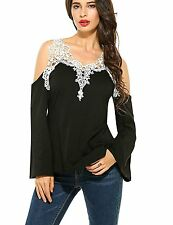 Women Sexy Off Shoulder Lace Crochet Flare Bell Long Sleeve T-shirt Blouse Tops