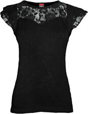 Spiral Direct GOTHIC ELEGANCE, Lace Layered Cap Sleeve Top Black|Gothic