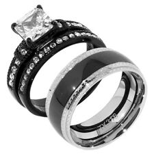3 PCS Womens Princess CZ Black IP Stainless Steel 2 Rings Set/Mens Matching Band