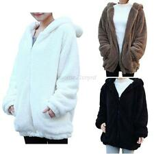 Womens Winter Warmer Cute Bunny Ears Thicken Fleece Hoodie Outerwear Coat Jacket