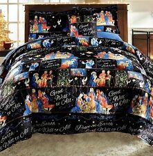 Christmas Holiday Nativity Scene 3pc Full/Queen or King Size Quilt Set