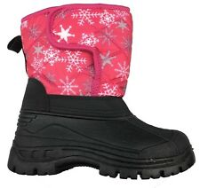 New Pink kids youth Girl's Winter Boots Snow Ski Nylon Warm Fur Lined 11-4 ICY63