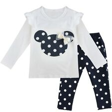 Toddler Kids Baby Girls Minnie Mouse Outfits Clothes T-shirt Tops Pants 2PCS Set