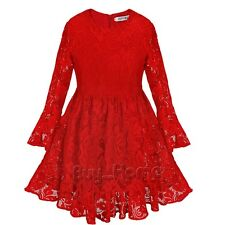 Kids Flower Girl Casual Red Dress Long Sleeve Lace Party Bridesmaid Dresses 2-8T
