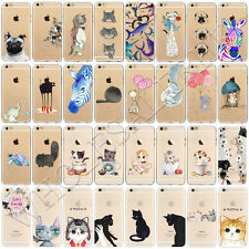 Cute Cat Animal Pattern Soft TPU Silicone Back Case Cover For iPhone 7 6 6s Plus
