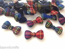 50 PLAID BLUE RED PADDED RIBBONS GINGHAM APPLIQUE TRIM SCRAPBOOK CHRISTMAS CARD