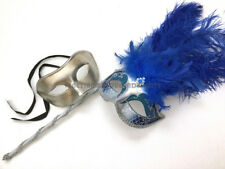Costume Burlesque Feather Couple Venetian Masquerade ball Stick handle mask pair