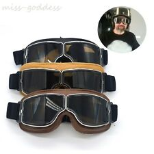 2017 Vintage Genuine Leather Helmet Goggles With Smoking Lens Motorcycle Goggle