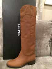 CHANEL 15C Brown Leather Ascot CC Logo Knee High Tall Riding Boots Shoes $1750
