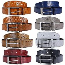 New Mens 35 mm Wide Reptile Skin Real Leather Pin Belts S-3XL