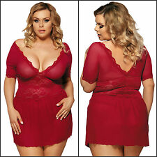 Sexy Plus Size Lace Dress Burgundy Beauty Flutter Sleeve Chemise 2PC Lingerie