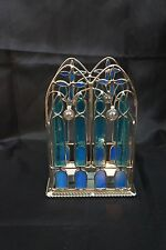Window STAINED GLASS Pillar or Tea Lights CANDLE HOLDER Christmas Holiday Decor