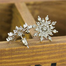 Lady Fashion Jewellery Elegant Crystal Rhinestones Snowflake Ear Stud Earrings W