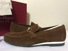 Salvatore Ferragamo Nepal Etrusco Brown Suede Men's Slip On Loafer Flats Shoes