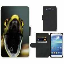 Phone Card Slot PU Leather Wallet Case For Samsung Open jaws of snake attacking