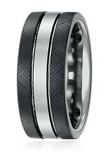 Sapphire Tungsten and Titanium 9mm Black Wedding Bands Rings for Men
