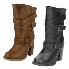 "LADIES SPOT ON HIGH HEELED BUCKLE-UP BOOTS ""F5929"" IN TAN BROWN OR BLACK"