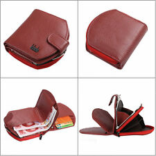 Women/Men Leather Small Mini Wallet ID Card Holder Coin Pocket Purse Clutch Red