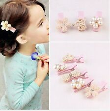 Baby Girl Children Hair Clips Party Princess Pearl Crown Flower Hairpin Barrette