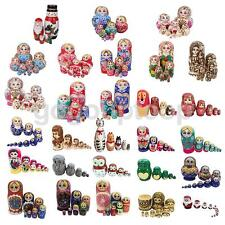 Wooden Russian Hand Painted Stacking Doll Nested Dolls Kids Birthday Xmas Gift