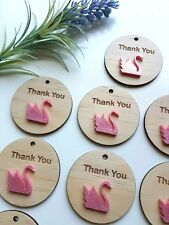 Thank You Wood Swan Tags Pink Favours Bonbonnieres Wedding Birthday Baby Shower